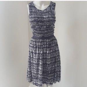 Anthropologie smocked blue/white dress.